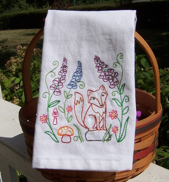 Embroidered Tea Towel Woodland Fox Embroidered Kitchen