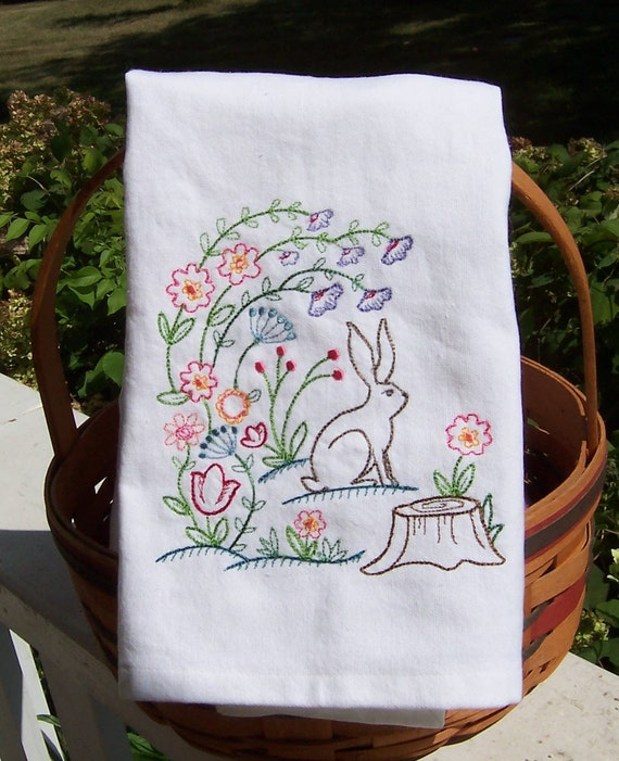 Woodland Rabbit Tea Towel Embroidered Kitchen Towel