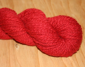 Red Alpaca Silk Handspun Yarn 160 Yds 2 ply #34