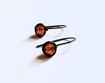 Oxidised Copper Crystal Earrings- Red