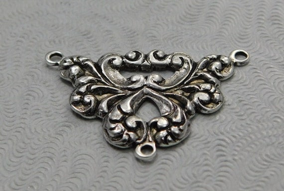 LuxeOrnaments Oxidized Sterling Silver Filigree Bracelet Blank Connector Focal 1 pc 80x29mm B276-VJS AT-3044