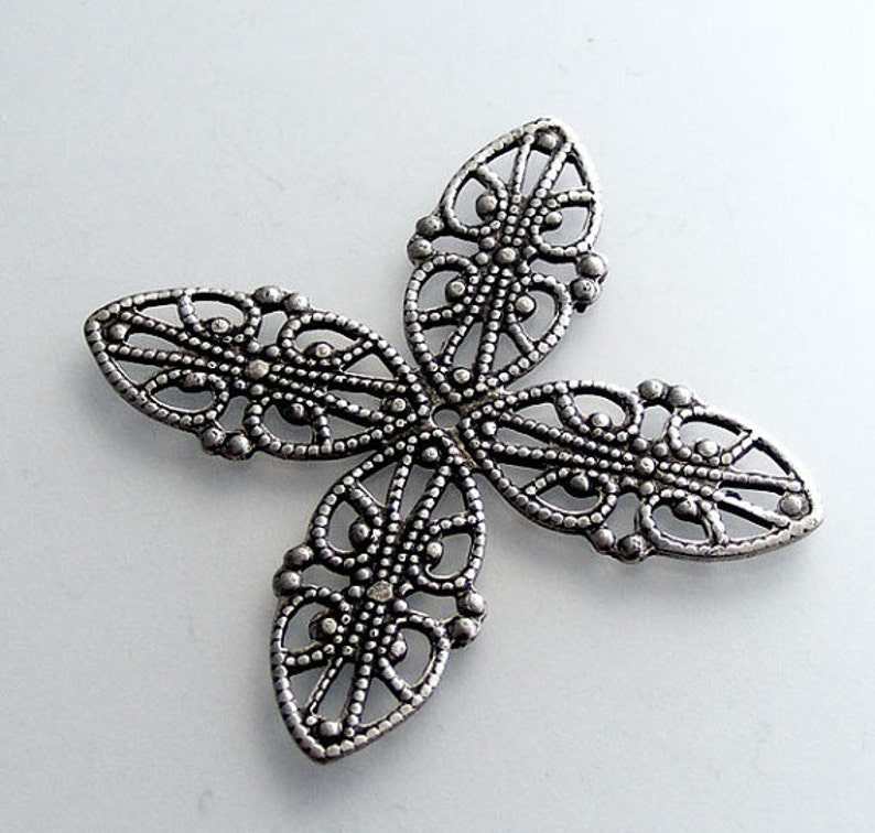 LuxeOrnaments Oxidized Sterling Silver Plated Brass Filigree Wrap Connector Focal 42mm 1 pc B753-VJS S-9038
