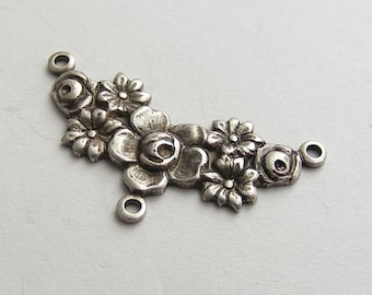LuxeOrnaments Oxidized Sterling Silver Plated Brass Filigree 3 Ring Drop Connector Floral (Qty 1) 27x13mm B738X-VJS G-07037