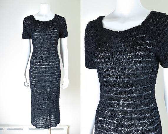 1930s Ribbon Knit Dress - S/M