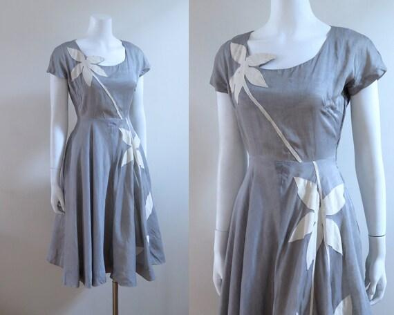 1950s Tootal Linen Dress - M