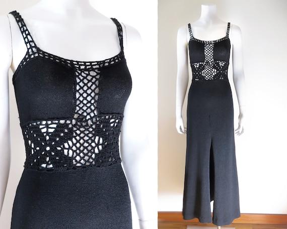 70s Crochet Maxi Dress - S