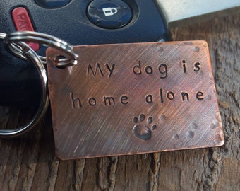 Pet Home Alone, Keychain, Emergency Contact, Pet ID, Please Contact, Dog Home Alone Tag, Dog Tag, Personalized, Dog Lover Gift, Cat Home
