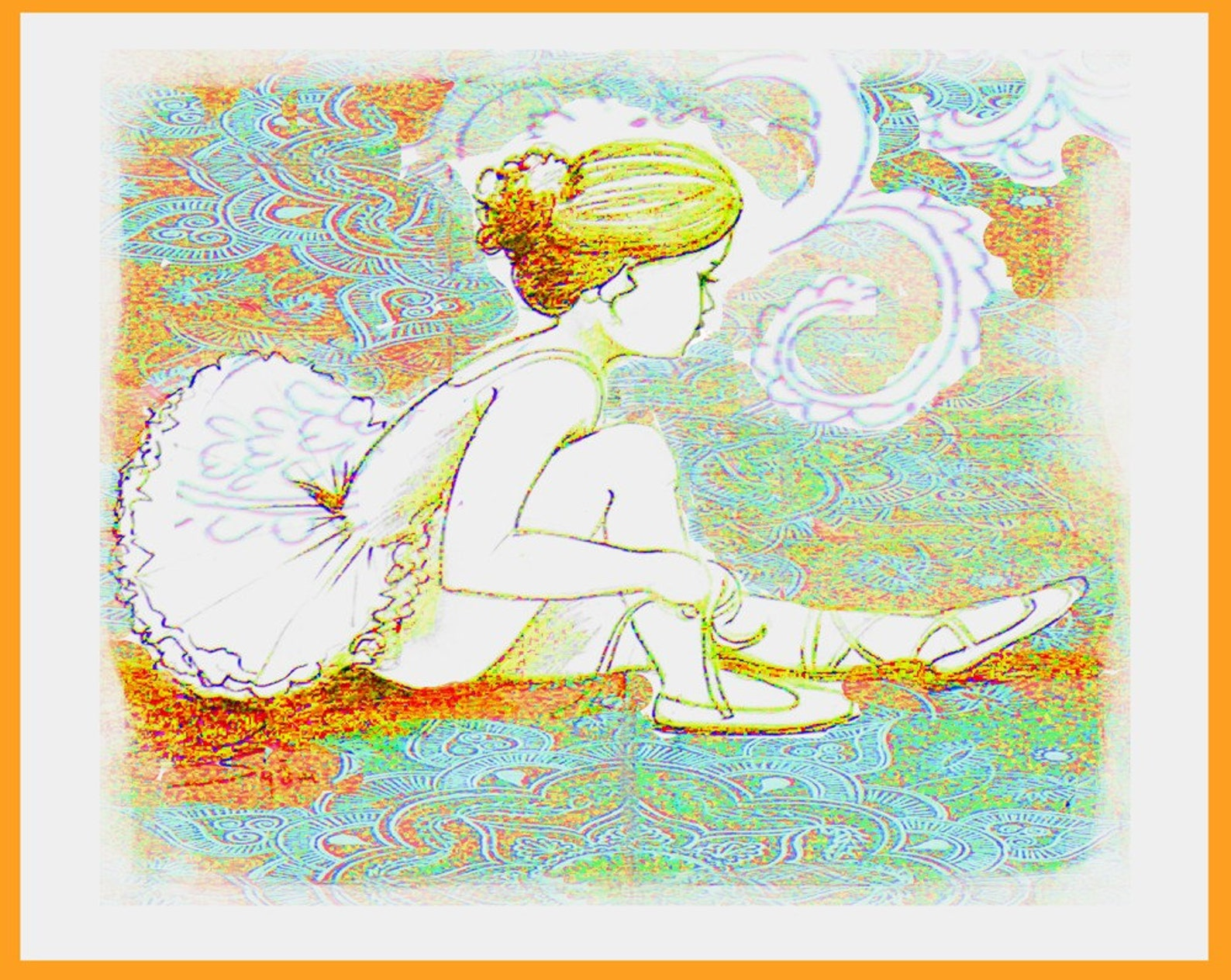 the darling ballerina photgraphic fine art print of little ballerina drawing, ballet art aqua rust jade swan lake,young ballet d