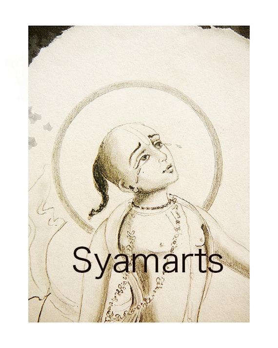 Golden Avatara Meditation Syamarts Art Yoga Devotional Pencil Etsy