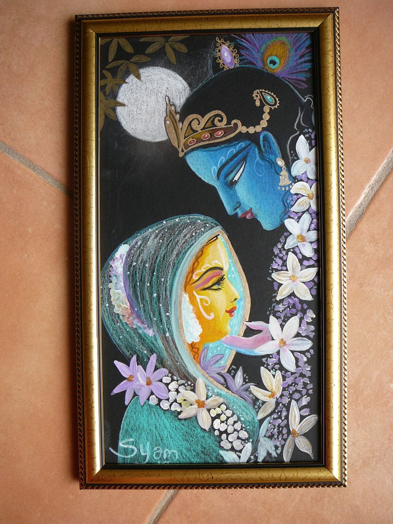 Original drawing Radha Krishna on thick art card ready framed ready to ship  devotional gift home altars syamarts gifts under 125