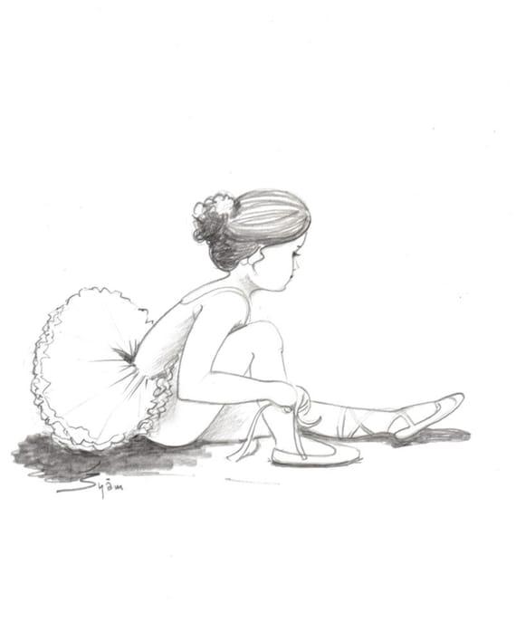 Original Zeichnung zu verkaufen die junge Ballerina. Bleistift auf Karte 8 x 11