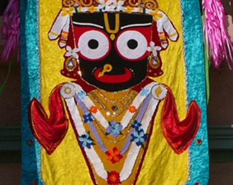 Art tapastry wall hangings festival banner flags Jagannath custom made in any size, color combination Ratha yatra, India decor, temples