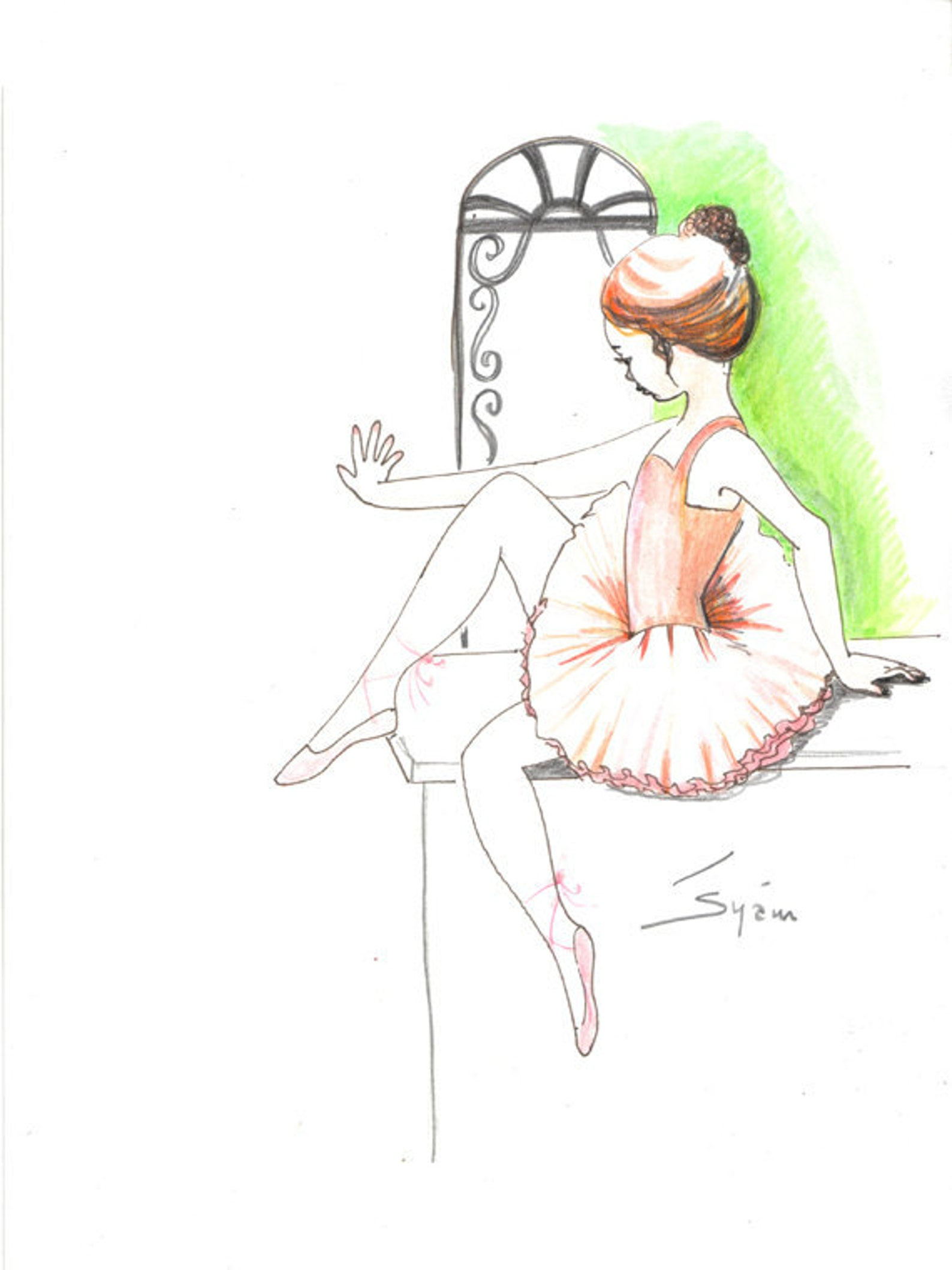 original pen drawing with watercolor..the little ballerina in italy, ballet art, ballerina, girl in tutu, painting, ink sketch