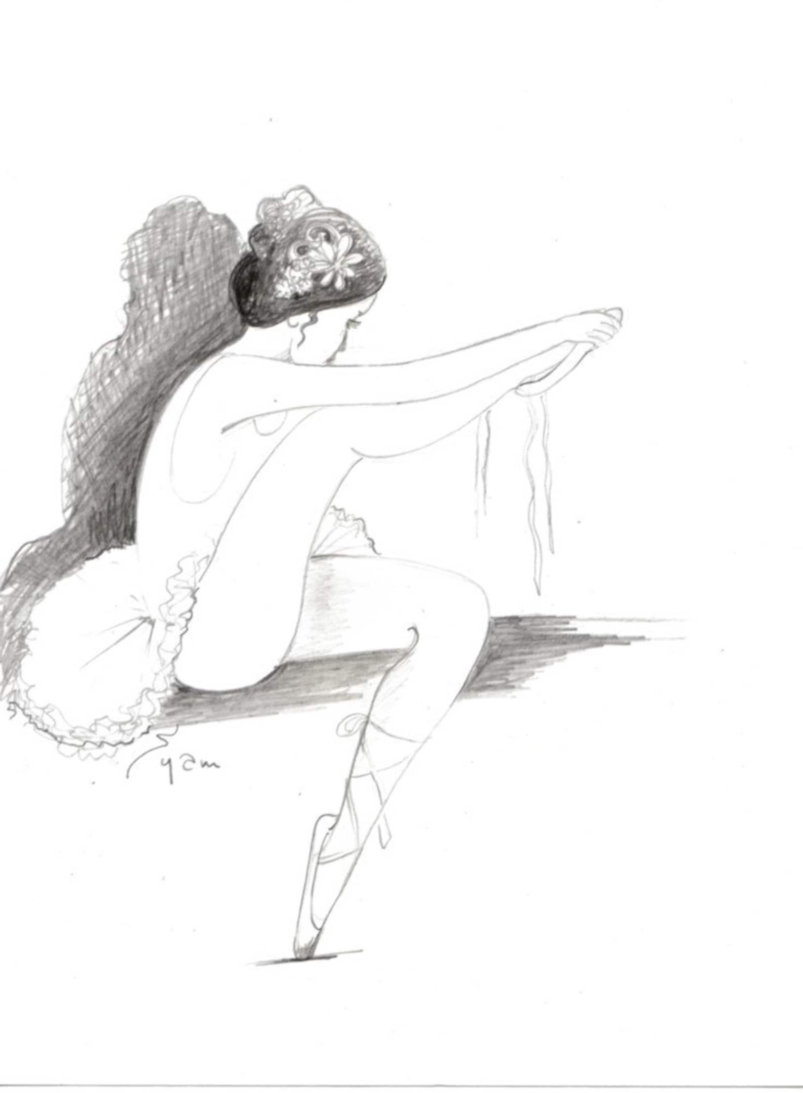 original drawing or a print.the ballerina. pencil drawing, modern ballet art,prima ballerina ballet shoes ,tutu, wall decor, lin