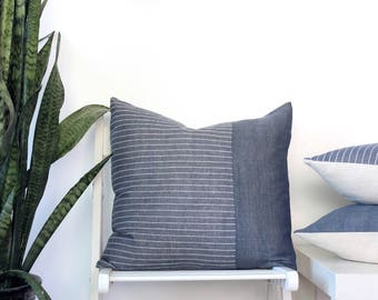 Indigo blue colorblock pillow - organic cotton pillow cover in navy blue and white stripes, coastal style, eco friendly sustainable decor