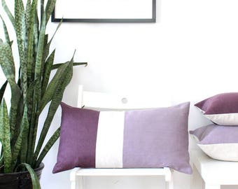 Colorblock pillow - burgundy and mauve organic cotton and linen pillow, rustic modern style, sustainable pillow cover, organic pillow