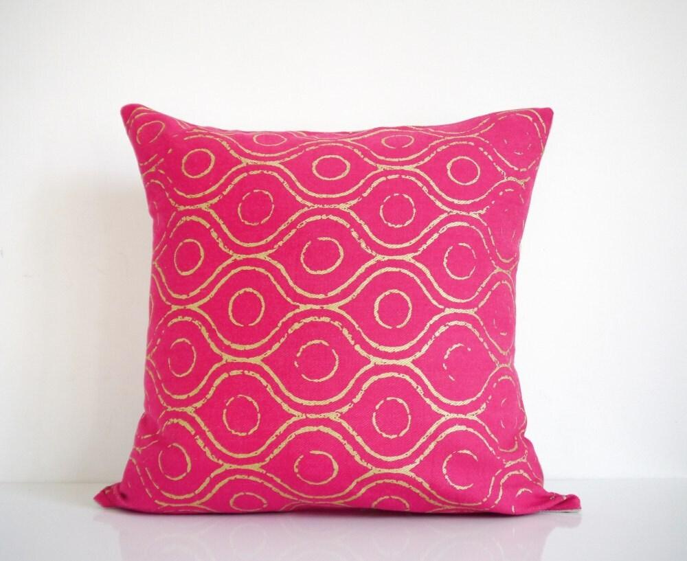 Pink pillow metallic gold print on pink organic cotton   Etsy