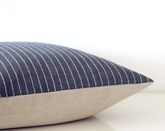 Indigo blue striped pillow - organic cotton pillow cover in navy blue and white, beach house style, eco friendly decor, lumbar or square