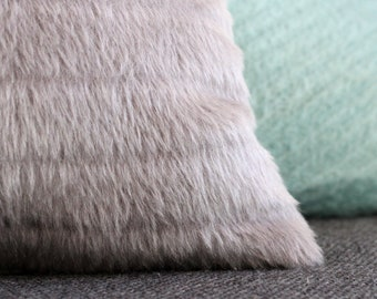 Gray pillow: furry silver grey with textured stripe, alpaca and wool mix, faux fur modern pillow cover, Scandi hygge pillow