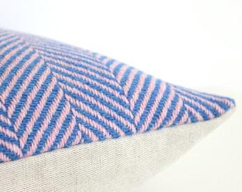 Blue and pink pillow in herringbone weave, luxury Italian wool, designer pillow cover, modern decor, lumbar or square