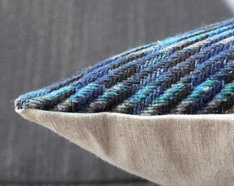 Modern pillow: blue, gray, turquoise and black plaid design in quality Italian wool, square or lumbar