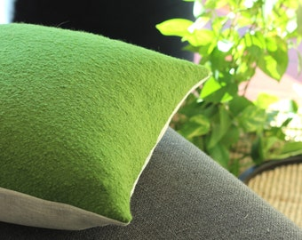Green pillow: textured wool throw pillow cover in bright green with a modern style, grass green pillow, square or lumbar