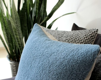 Gray blue pillow: fur textured throw pillow in wool and alpaca mix, modern pillow cover, hygge scandi style. square or lumbar, custom sizes