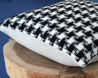 Black and white check pillow: textured mid century modern pillow cover in luxury Italian wool, chunky weave, square or lumbar