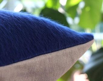 Bright blue pillow: cobalt blue throw pillow in luxurious silk alpaca mix, modern decorative pillow cover, fur texture, winter decor