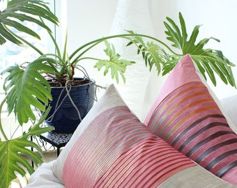 Boho pillow cover: silk pillow in pink tones and gold thread, global decor striped pillow, bohemian pillow cover