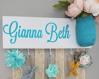 Headband Bow Holder, Custom Name Board, Baby Girl Nursery Decor, Baby Shower Gift, Bow Organizer, Headband Organizer, White Painted Board