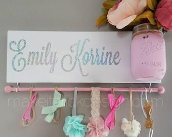 Headband Bow Holder, Custom Name Board, Baby Girl Nursery Decor, Baby Shower Gift, Bow Organizer, Headband Organizer, Rainbow Baby Decor