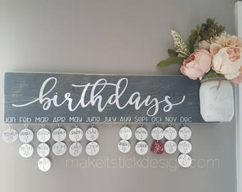 Family Birthday Board, Celebration Board, Birthday Calendar, Family Celebrations, Grey Painted Distressed and White Wall Hanging
