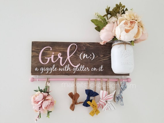 Baby Shower cute Rustic Flowers Personalized hair bow holder Headband Holder