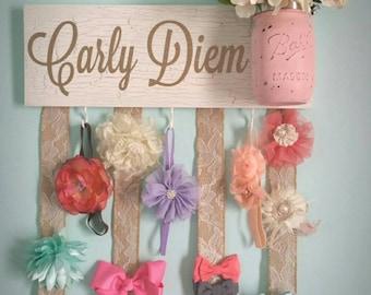 Headband Bow Holder, Custom Name Board, Baby Girl, White Chippy Paint