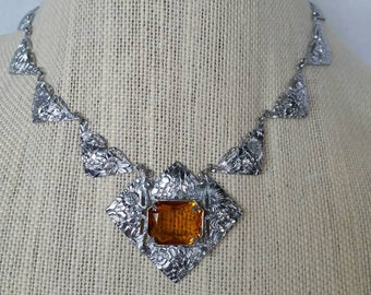 Sterling Silver Rectangular Oligoclase Filigree Brown Natural Stone with Topaz Pendant