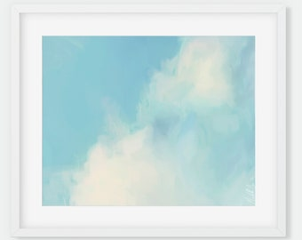 Blue Abstract Cloud Print: Close-up #1