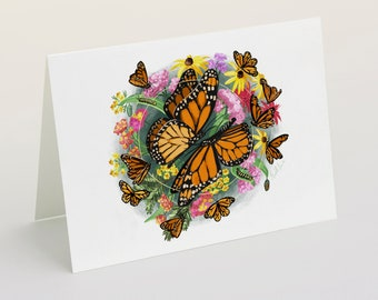 Printable Monarch Butterfly & Floral Card - Digital Download