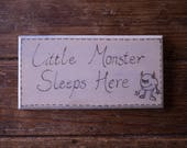 Little Monster, boy's bedroom door plaque, engraved sign. Little Monster Sleeps Here. Baby shower present, toddler boy's birthday gift