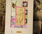 Foxglove Botanical art. Pyrography engraving, floral picture, mixed media collage, vintage nature book papers, stamping and drawing