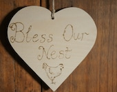 Wooden sign, Bless our nest, family heart sign, wooden door hanger engraved with pyrography, chicken, hen