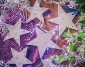 7 silver wooden Christmas Stars, Personalised / Personalized Christmas decorations, rustic holiday tree ornaments, engraved snowflakes