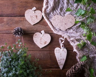 Personalised wooden heart sign; personalized hanging decoration or gift tag. Butterfly, pattern or PS. I love You engraved with pyrography