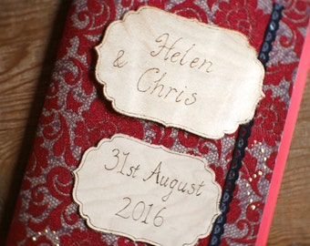 Romantic red personalised guestbook, handmade personalized guest book, gothic wedding, Diary, Notebook, Scrapbook pyrography