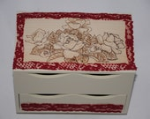 Large jewellery box / jewelry box personalised / personalized & decorated with pyrography wood burned rose engraving and red lace. Valentine