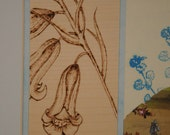 Original bluebell art, Cream & blue Botanical floral art, Mixed media vintage nature shabby chic flower picture, Pyrography wood engraving