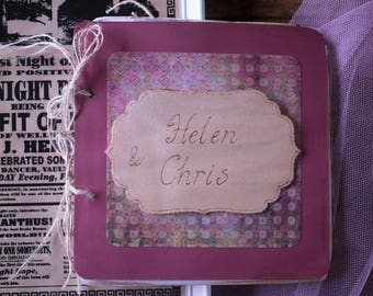 Vintage funfair personalised guestbook, handmade personalized shabby chic games themed wedding guest book, Notebook, Scrapbook, pyrography