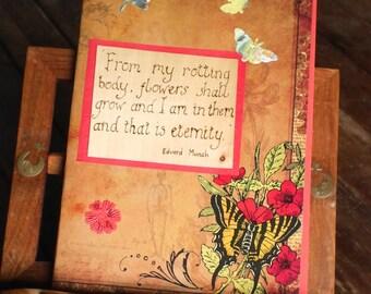 Steampunk gothic journal, botanical diary Notebook, Scrapbook, Unusual alternative Wedding Guestbook, handmade book, Edvard Munch quote