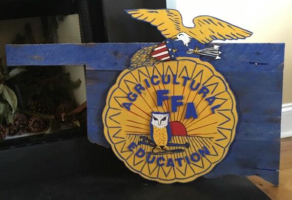 Free Shipping Ffa Hand Painted Emblem Oklahoma Pallet State Etsy