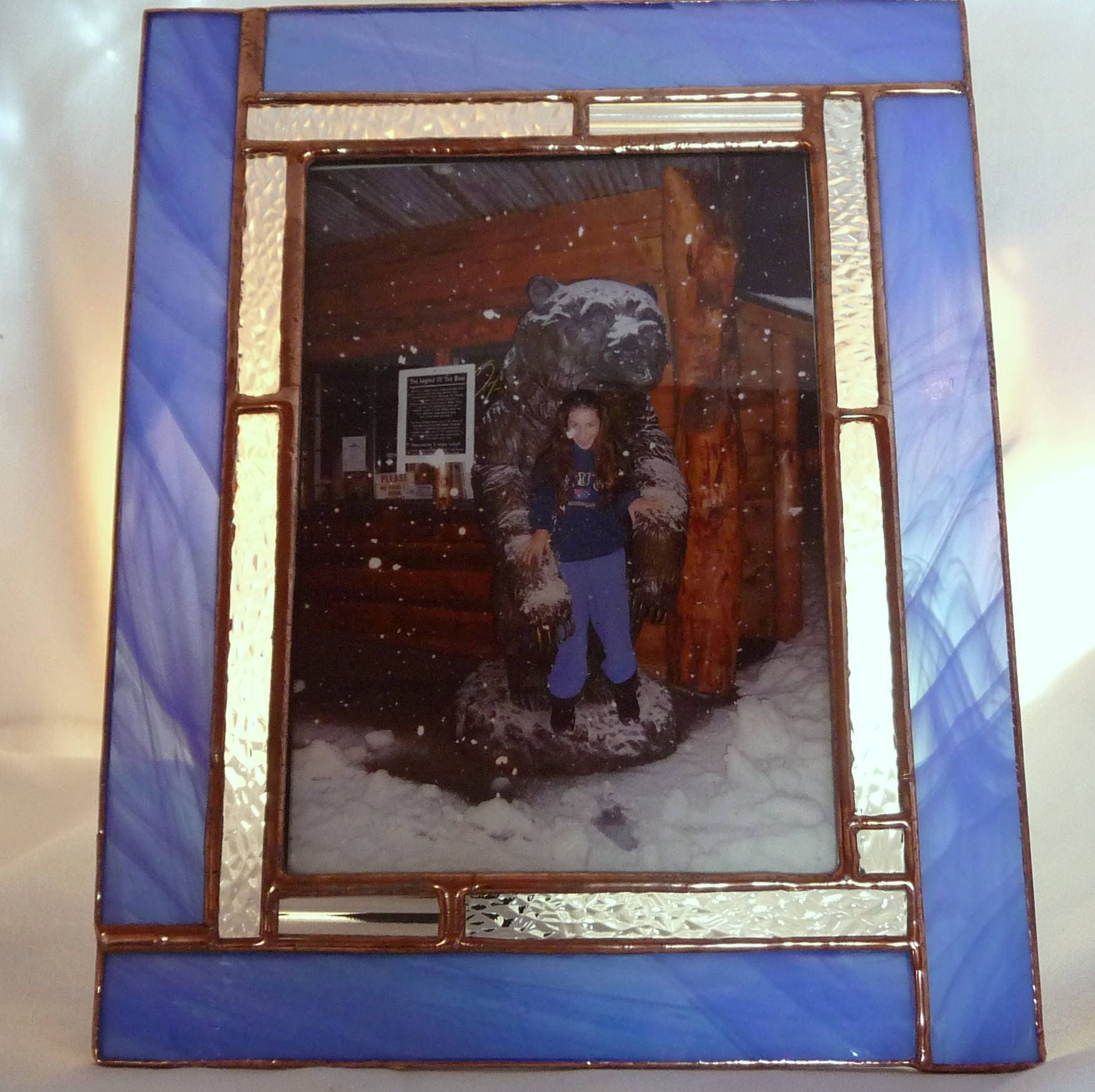 stained glass art picture frame 5x7 christmas gift picture frame wedding gift 5x7 blue and white transparent glass clear texture glass
